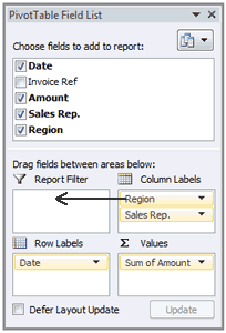 Excel Pivot Table Report Filter