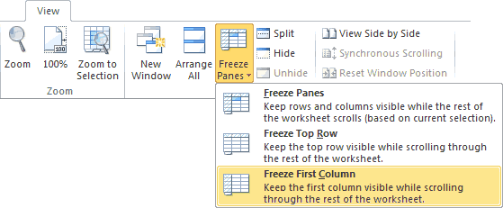 Freeze First Column Option on the Excel Ribbon