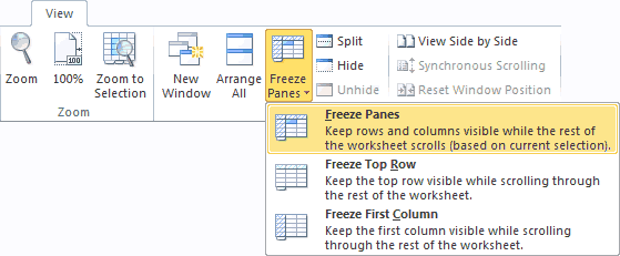 Freeze Panes Option on the Excel Ribbon