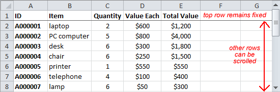 Spreadsheet With Top Row Frozen