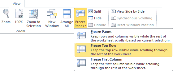 Freeze Top Row Option on the Excel Ribbon