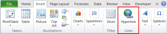 Hyperlink Option Button on Excel Ribbon