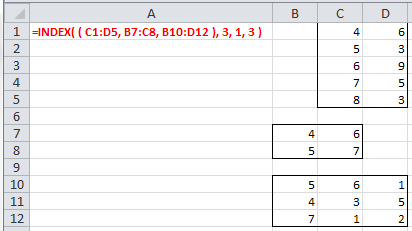 Example of use of the Excel Index function