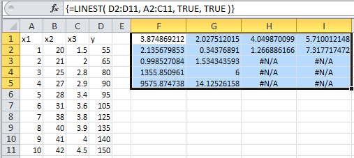 Example of use of the Excel Linest Function with multiple independant variables
