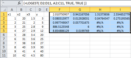 Example of use of the Excel Logest Function with multiple independant variables