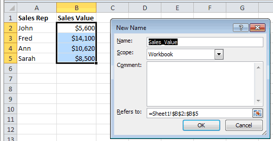 Excel New Name Dialog Box