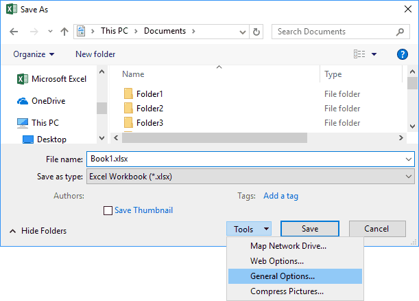 Save As Dialog Box With Tools Drop Down Menu and General Options Highlighted