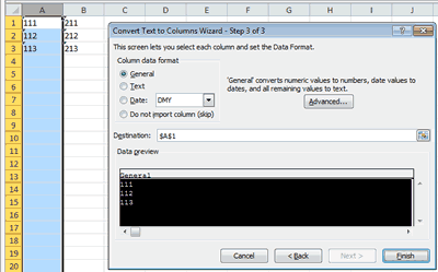 Excel Text To Columns Wizard Step 3 with General Data Format Selected