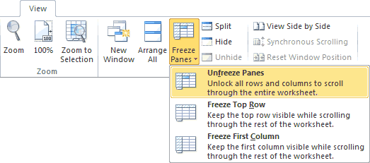Unfreeze Panes Option on the Excel Ribbon