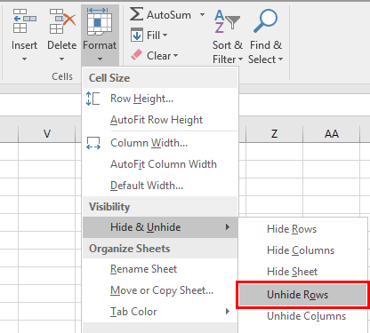 Unhide Rows Through Format Option on Ribbon