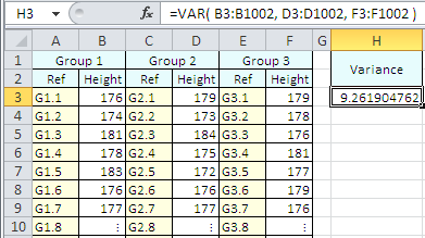 Example of use of the Excel Var Function