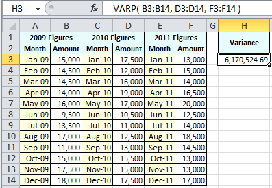 Example of use of the Excel Varp Function