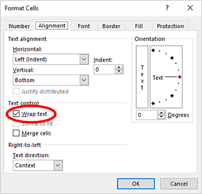 Excel Wrap Text Option in the Format Cells Dialog Box
